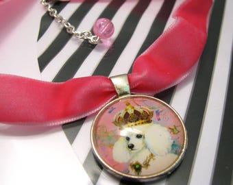 Pink velvet choker/choker/choker with pendant/glas pendant/Pink choker/ boho choker/under 10 gift/  Poodle pendant/gift for girl/dog pendant