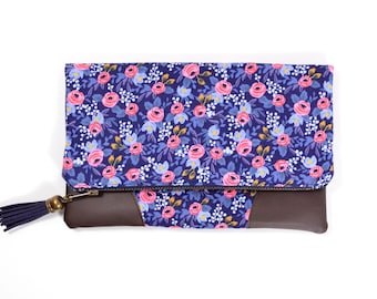 Les Fleurs Fabric Clutch, Rifle Paper Co Purse, Floral Clutch Bag, Navy Foldover Clutch, Teen Girl Gift for Women Under 50, Rifle Fabric Bag