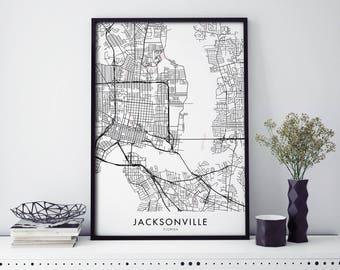 Jacksonville, Florida, USA City Map Print Wall Art Poster | A4 A3 A2