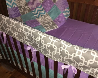 Teal blue and Purple 4 piece crib set