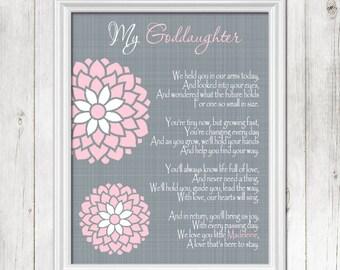 GODDAUGHTER Baptism Wall Art, Christening Gift, Gift for Goddaughter, Personalized Baby Gift, Dedication Gift -PRINT, CANVAS, Digital File