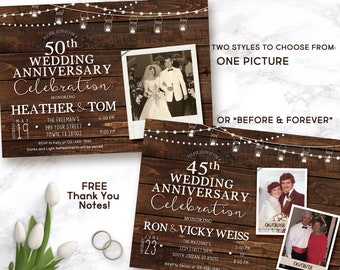 40th Wedding Anniversary invitation, Wedding Anniversary Invitation, rustic anniversary invite