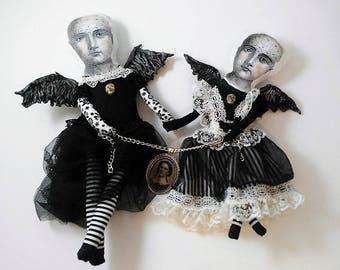 Strange Sisters-art doll-strange dolls-vintage-victorian-curiosity-black dress-decoration-whimsical-fantasy-portrait-chains-hand made