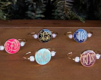 Gold Monogrammed Bracelet, Circle Font Monogram Bangle, Monogram Bracelet, Custom Monogrammed Bangle, Custom Monogrammed Braclet
