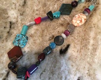 Multi Colored and Mixed Semi Precious Beaded Choker Necklace
