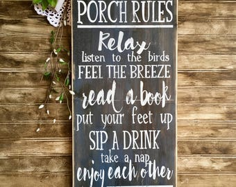 Porch rules, rustic wood sign, handpainted, outdoor signs, wooden sign, handpainted wooden sign, wood signs, rustic wood sign, rustic decor