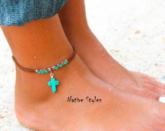 Tribal Ankle Bracelet~Turquoise Cross Native Made Anklet~Bohemian Anklet Turquoise~Native American Anklet~Boho Ankle Bracelet~Southwest Blue