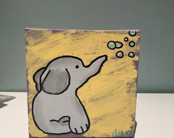 Elephant blowing bubbles painting