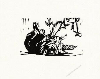 "Original Woodcut Cat Art Handmade Limited Edition Print ""03.17-Swipe"""