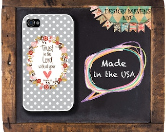 Polka Dot Bible Quote iPhone Case, Floral Phone Case, Trust in the Lord, Proverbs 3:5, iPhone 8, 8 Plus, iPhone 7, 7 Plus, iPhone 6s, 6 Plus