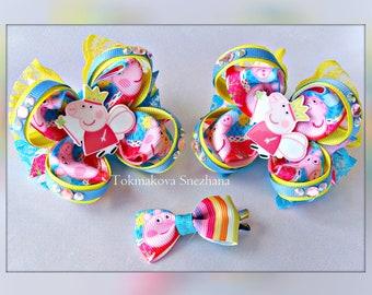 Bows Hair Peppa Pig -  Peppa Pig Party - Gerls hair bows - Peppa Pig Birthday