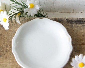 Antique White Ironstone Butter Pat W H Grindley & Co The Marquis - Farmhouse Style Kitchen Dining Room Decor - Shabby Country Chic -