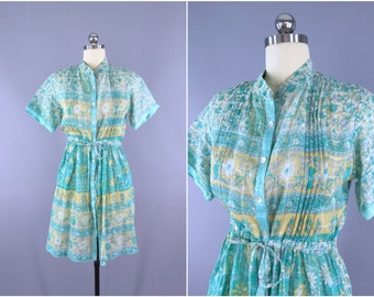 India Cotton Dress / Vintage Indian Cotton Sari / Shirtdress Summer Dress / Aqua Floral Print / Size Small S