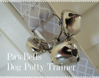 Paw Bells, Dog Housebreaking Potty Trainer, Grey Quatrefoil, Instructions Included, Fast Shipping, Optional Hook Add On