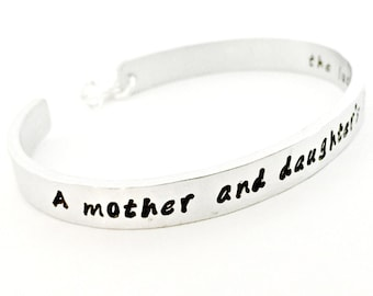 Mother Daughter Personalized Secret Message Cuff - Hand Stamped Bracelet with Hanging Silver Heart & Swarovski Crystal - Mother's Day Gift
