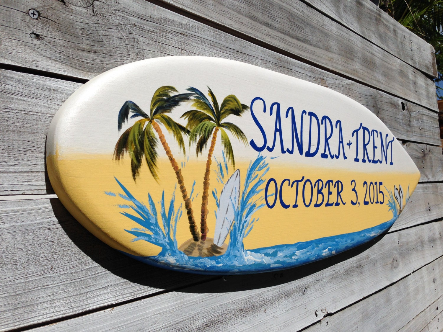 Palm Tree Beach Wedding Decor, Surfboard Sign Wood Gift For Couple ...