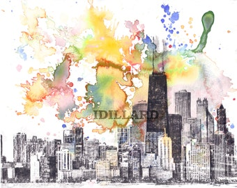 Chicago Skyline Art Print Chicago Art Print From Original Watercolor Painting Chicago Painting Wall Art