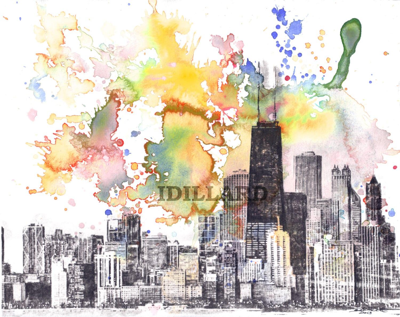 Chicago Skyline Art Print Chicago Landscape Art Print From