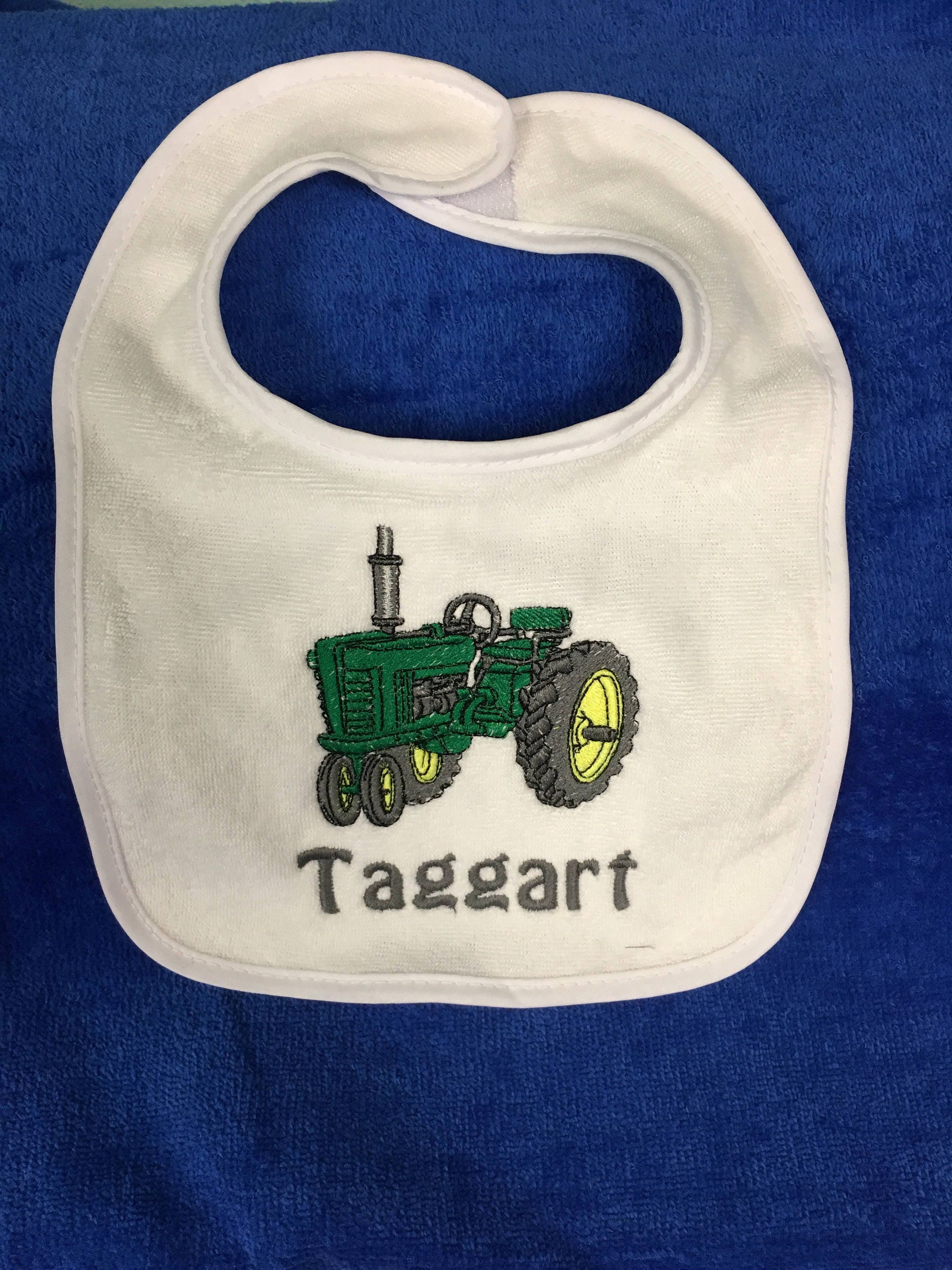 Tractor bib or burp cloth tractor monogram baptism bib tractor bib or burp cloth tractor monogram baptism bib personalized baby bib any design baby gift any thread color bib or burp cloth negle Images
