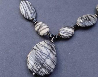Zebra Marble Obsidian Statement Necklace