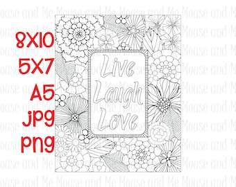 Live Laugh Love, 'Inspirational Quote' Digital Stamp, Adult Colouring Page