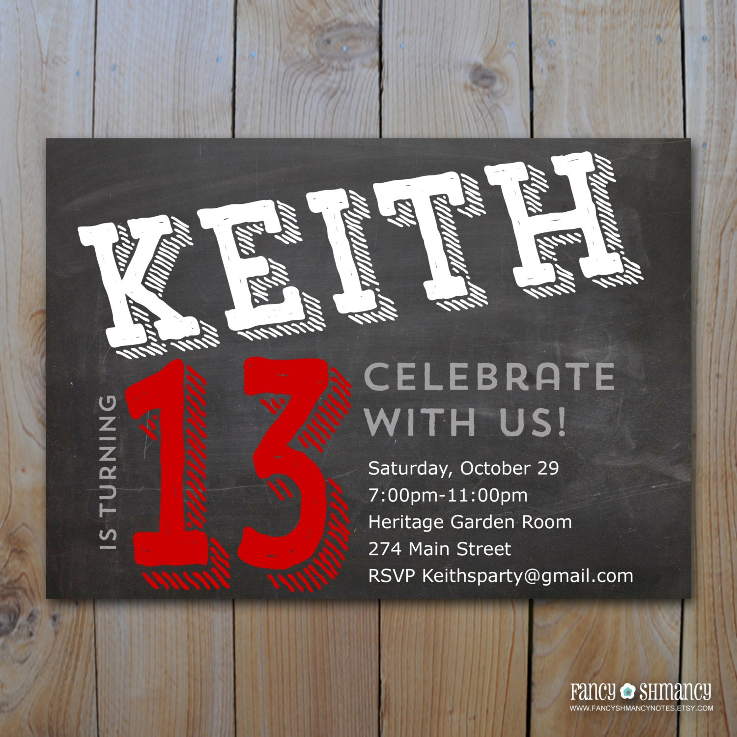 Teen boys birthday invitation chalkboard design for zoom bookmarktalkfo Gallery