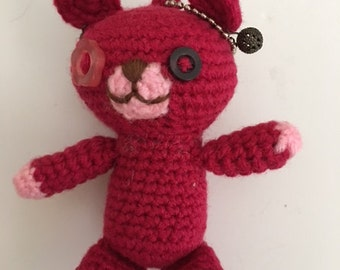 Mini Red Teddy Keychain; Amigurumi Bear; Small Bear; Crochet Bear