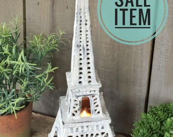 Large Eiffel Tower Candle Lantern, French Decor Accent, Shabby Chic Paris