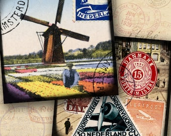 Holland, Amsterdam, Netherlands, World Tour printables in large 4-inch squares for coasters, tags -- piddix digital collage sheet 898