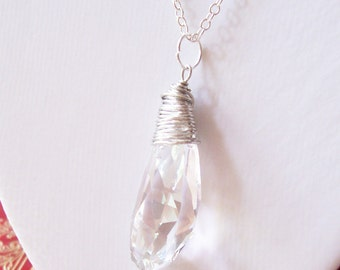 Chunky Swarovski Crystal Necklace - Icicle Wire Wrapped Pendant Jewellery Jewelry - Statement Clear Silver Geometric For Her Women Gift