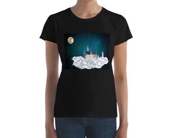 Castle in the starry sky under moonlight  night T-Shirt