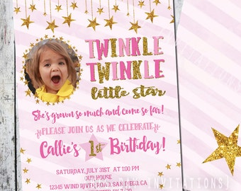 Twinkle Twinkle Little Star First Birthday Invitation Twinkle Pink and Gold  - Printable Digital File - Photo can be removed