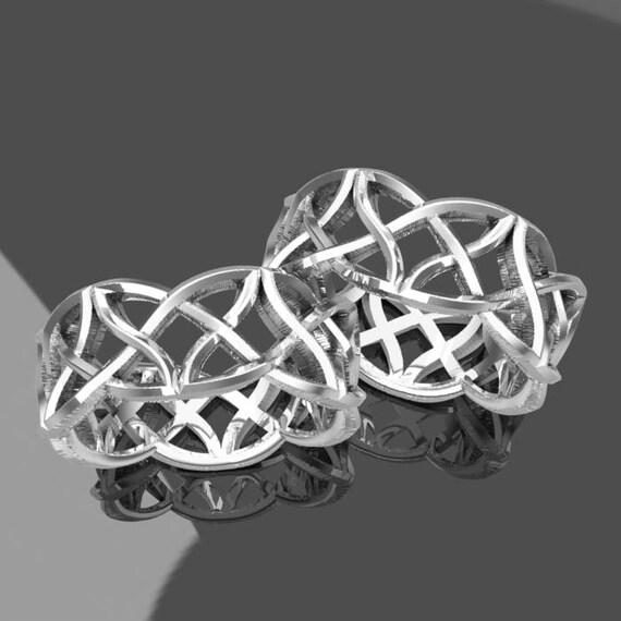 Celtic Knotwork Wedding Ring Set, 925 Sterling Silver Celtic Knot Wedding Bands, His and Hers Wedding Set,  Made In your Size, 1021