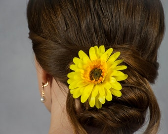 Gerbera flower accessories Hair pin Prom flowers for hair Yellow gerbera daisy flower girl gifts Bridal hair pins Hair accessories