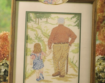 Cross Stitch Patterns Leaflet,Strolling With Grandpa,People Cross Stitch,Grandfather and Child Cross Stitch,Grandparents Cross Stitch