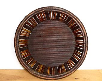 Vintage bamboo bowl…bamboo tray…wall basket...Southeast Asian bowl or tray.