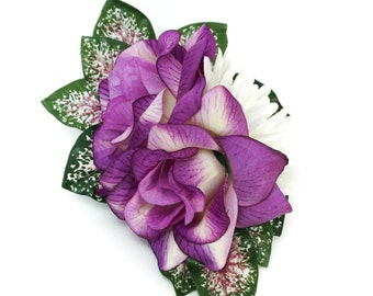 Purple Rose and Ivory Mum Hair Flowers with Pink & Green Tropical Leaves Large Fascinator Clip