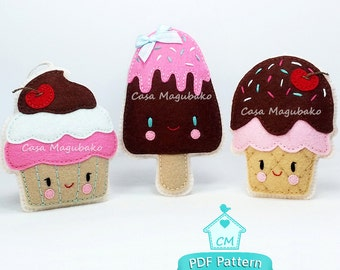 PDF Pattern - Cupcake, Ice Cream Cone & Ice Pop Felt Pattern - Party Treats Sewing Pattern - Instant Download - Sweet Treat Ornaments
