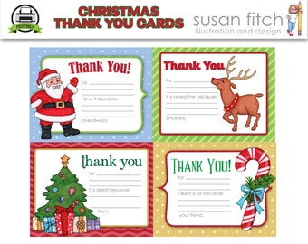 Fill-In-The-Blank Christmas Thank You Cards