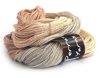 Hand dyed DK, double knitting baby alpaca linen silk blend, light worsted crochet yarn skein, Perran Yarns, brown cream sand ecru natural