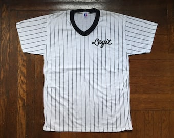 legit vintage X russell athletic pinstripe V-neck shirt mens size large deadstock NWOT 90s made in USA