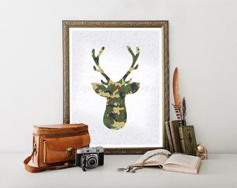 Deer Printable, Cabin Decor, Deer, Buck, Stag, Deer Digital Download, Camo Deer Digital Download, Deer Decor, Camouflage Deer Head 0086