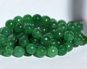 Half Strand 8mm Faceted Green Jade Gemstone Beads - 23 beads  GJ-1