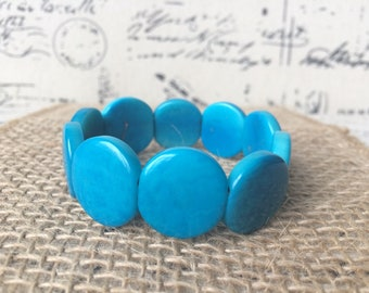 Turquoise beaded bracelet Tagua bracelet Mothers day from daughter Aqua blue statement bangle Birthday present for women Unique gift for her