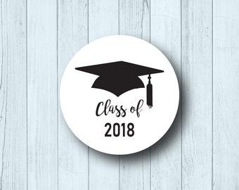 "Graduation Invitation Seals - 1.5"" Circle Labels - Open House - Class of 2018 - Decorative Party Favor Labels - Round - Matte White or Kraft"