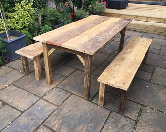 Reclaimed Garden Furniture Timber scaffolding dining table garden table with metal reclaimed scaffolding board farmhouse dining table garden table and 2 timber benches workwithnaturefo