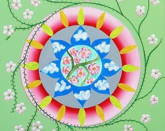 Mandala on canvas - the energy of spring - acrylic and mixed media - 40 cm x 40 cm - artist Creation