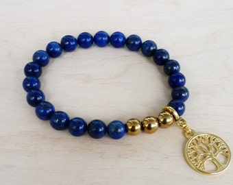 Lapis Lazuli Bracelet for women Gift sister Tree of Life Charm Bracelet for mom Bracelet for her Tree of Life Bracelet Blue Bracelet