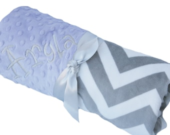 Stroller Size Gray and White Minky Chevron Baby Blanket with Lavender Dot Minky Back Personalization Optional