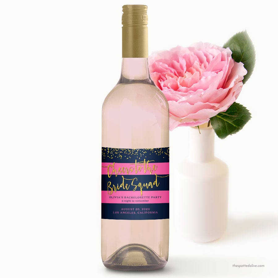 Personalized Wine Bottle Labels Navy & Pink Stripes